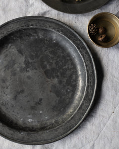 Large antique pewter plate