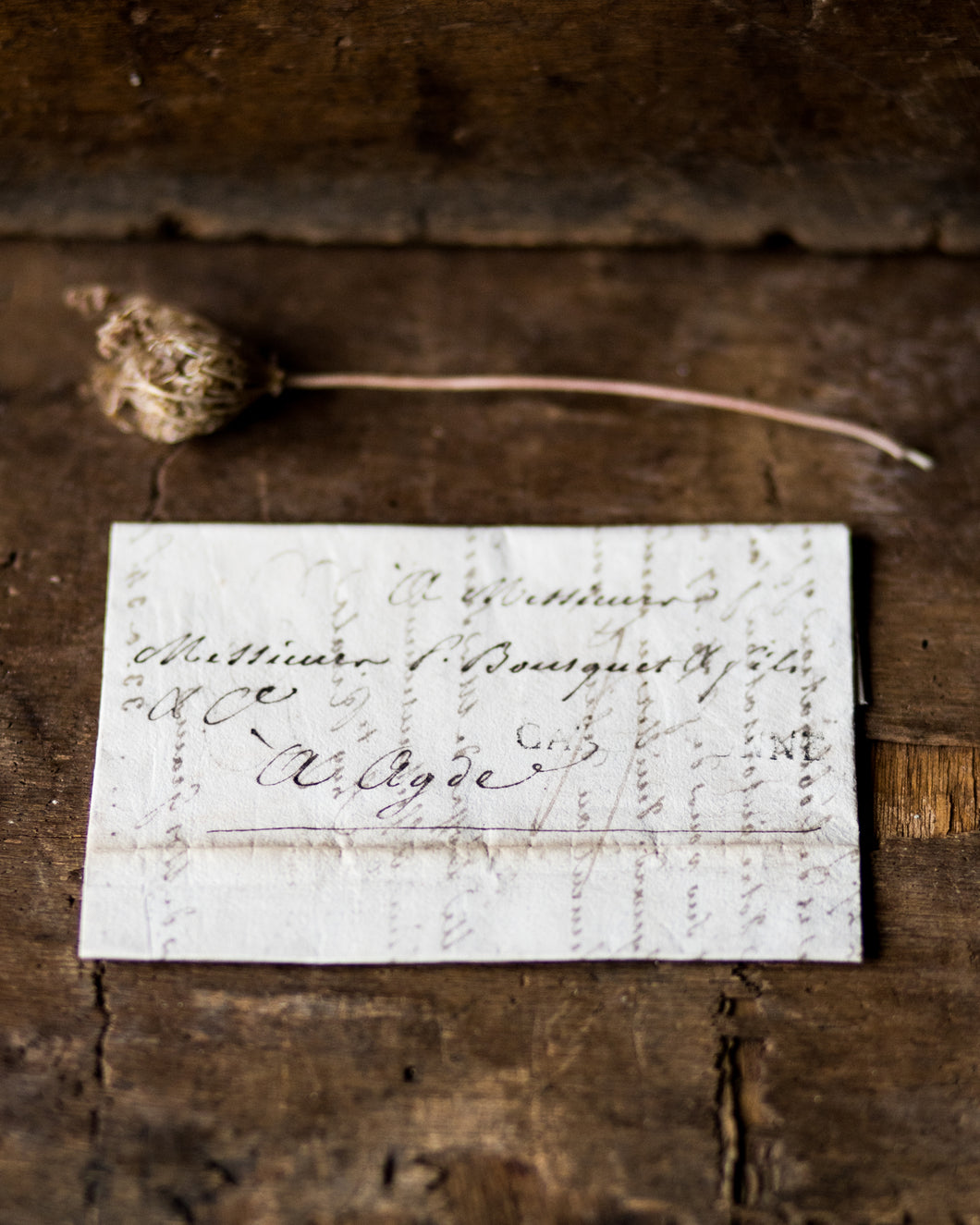 Small French handwritten folded letter # 1