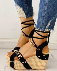 Beaded lace-up Platform Espadrilles Wedge black Sandals