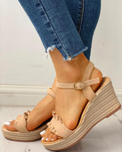 Load image into Gallery viewer, Suede Ruched Froll Hem Flat Sandals