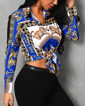Load image into Gallery viewer, Totem Print Knotted Front Long Sleeve Shirt