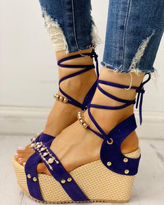 Beaded Lace-up Platform Espadrilles Wedge Sandals