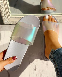 Transparent Open Toe Flat Sandals