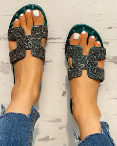 Sequins Pattern Cut Out Flat Sandals