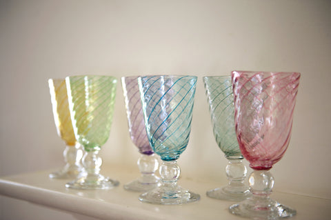 Set of Six Candy Twist Wine Glasses