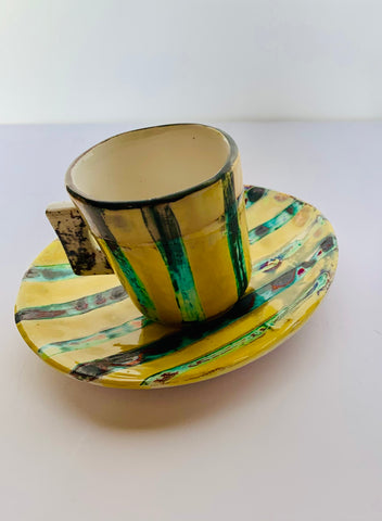 Florentine Espresso Cup and Saucer - Yellow Stripe