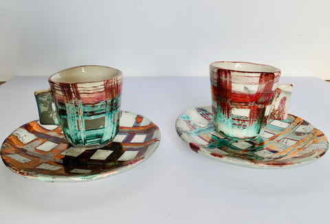 Florentine Espresso Cup and Saucer - Copper Check