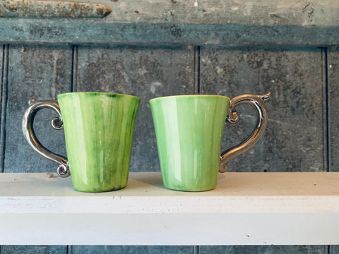 Green Espresso Cups with Pewter handles