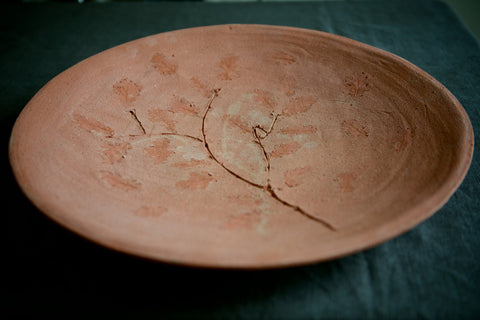 Leaf Imprint Terracotta Platter - Oak