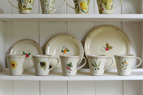 Fruit Veg and Flower Pattern Mugs