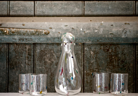 Speckled Glass Carafe & Tumblers