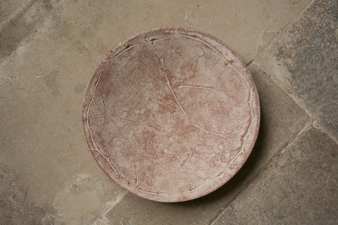 Leaf Imprint Terracotta Platter - Fig