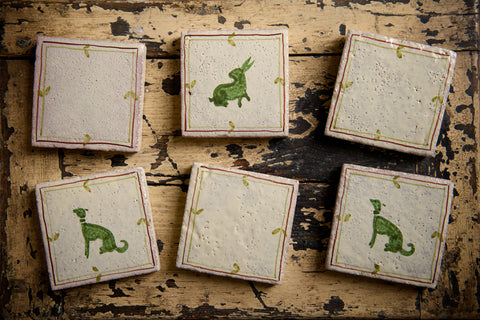 Green Dog and Green Rabbit  handpainted tiles
