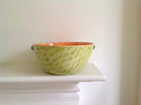 Pale Green & Orange Salad Bowl by Miranda Berrow
