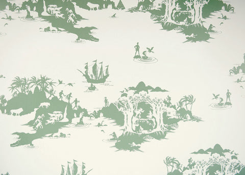 Peter Pan by Emma Molony - Pea Green on Cream