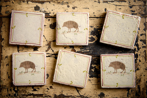 Wild Boar Handpainted Tiles