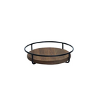 Round Wooden Serving Tray|Antique Metal Frame