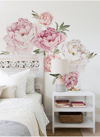 Pink Peony Flowers Wall Stickers