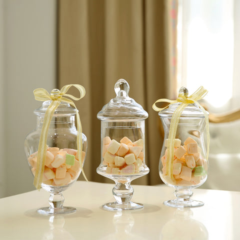 Transparent Glass Candy Jars with Cover|Decorative Household Glass Storage