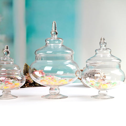Glass Candy Jars 3 Sizes| Decorative Household Glass Storage