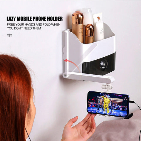Multifunction Wall Mounted Bedside Shelf with Phone Holder