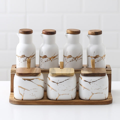 White Ceramic Spice Jars