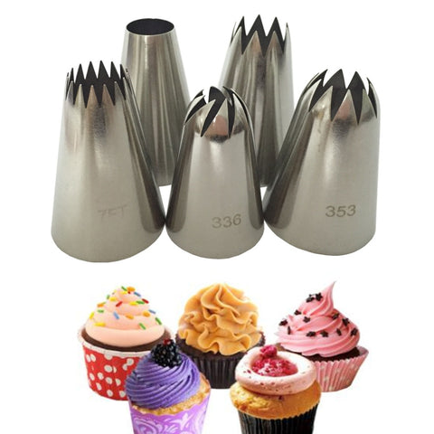 LARGE RUSSIAN ICING PIPING PASTRY NOZZLE 5PCS / SET