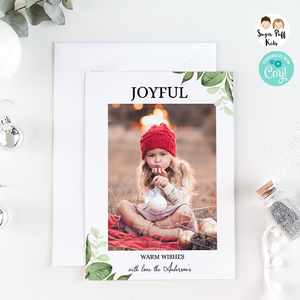 Christmas Minimalist Vertical One Photo Card