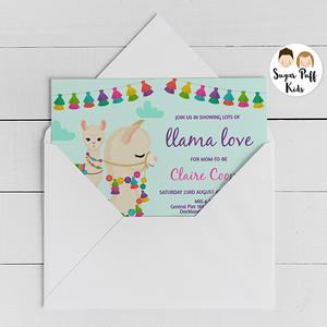 Colorful llama love baby shower invitation