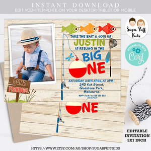Fishing Themed Photo First Birthday Invitation