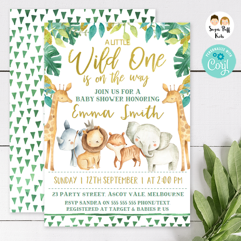 Safari Wild One Baby Shower Invitation