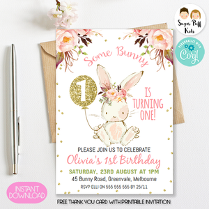 Some Bunny Birthday Invitation