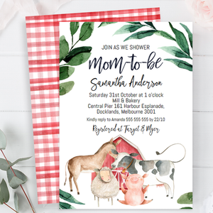 Farm Animals And Foliage Baby Shower Invitation
