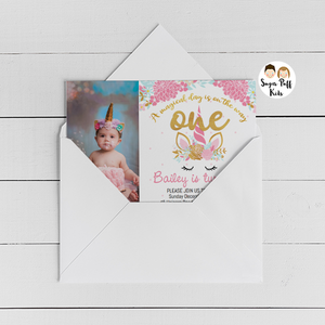 Blue Pink Photo Unicorn 1st Birthday Invitation