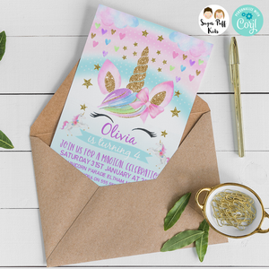 Girls Rainbow Unicorn Birthday Invitation