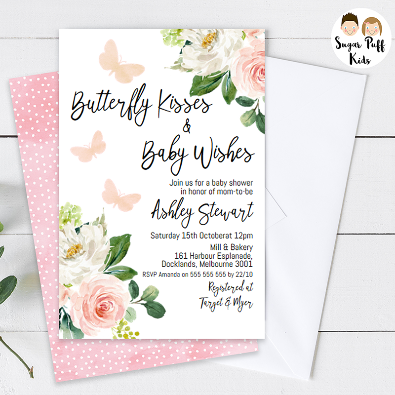 Girl's Blush Floral Butterfly Kisses Baby Shower Invitation