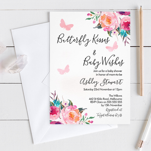 Girl's Floral Butterfly Kisses Baby Shower Invitation