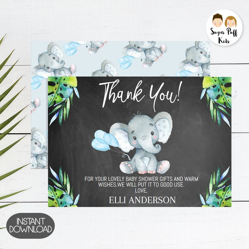 Baby Elephant Baby Shower Thank You Card