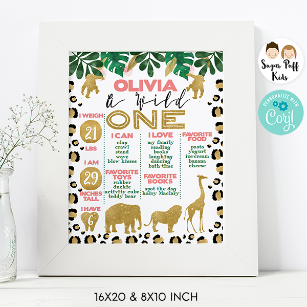 Girl's Wild One Leopard Skin First Birthday Milestone Poster Board