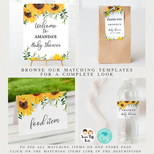 Sunflowers Baby Shower Water Bottle Label