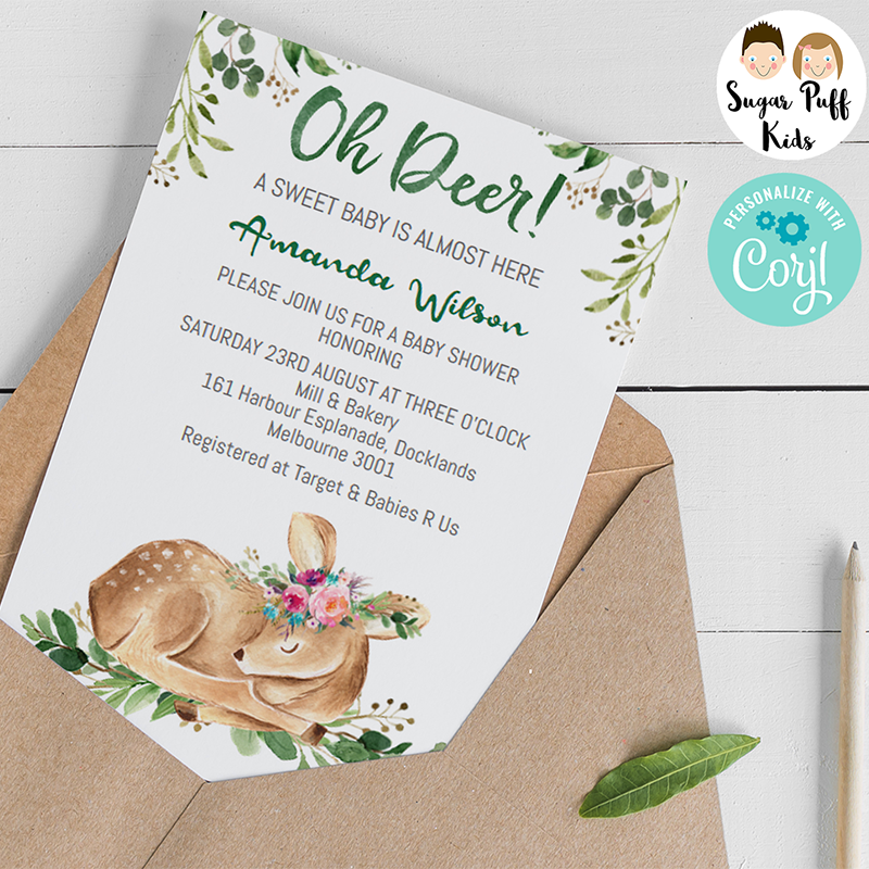 Woodland Deer Floral Baby Shower Invitation