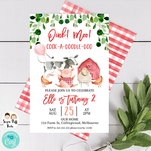 Farm With Dividers Birthday Invitation