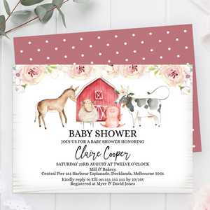 Floral Farm Animals Baby Shower Invitation