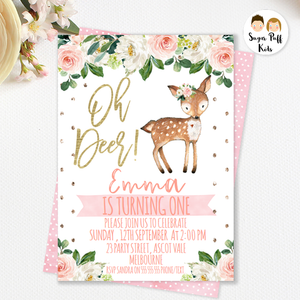 Girls Oh Deer Birthday Invitation