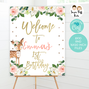 Girl's oh deer birthday welcome sign
