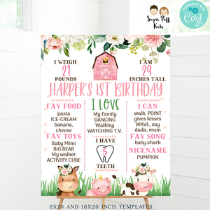 Girls Farm First Birthday Milestone Board