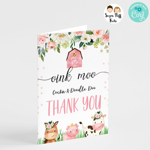Pink Farm Birthday Thank You Card