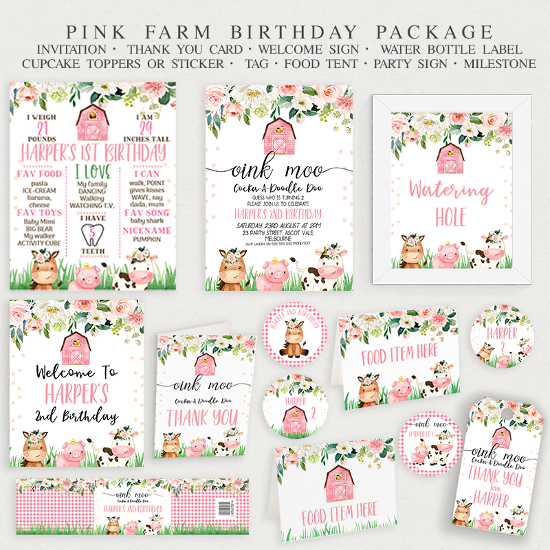 Pink Farmyard Birthday Birthday Party Printables - Package
