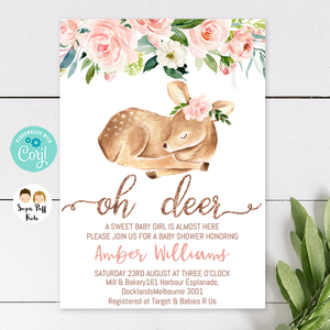 Oh Deer Girls Floral Roses Baby Shower Invitation
