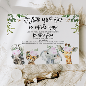 Purple Floral Safari Animals Baby Shower Invitation